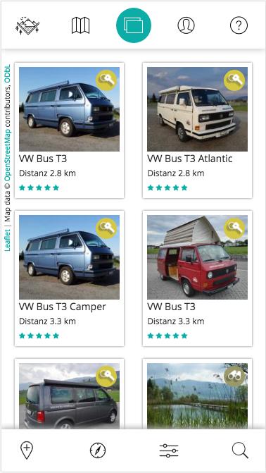 Design und Entwicklung Buchung von Campern in Geo-App für Smartphones