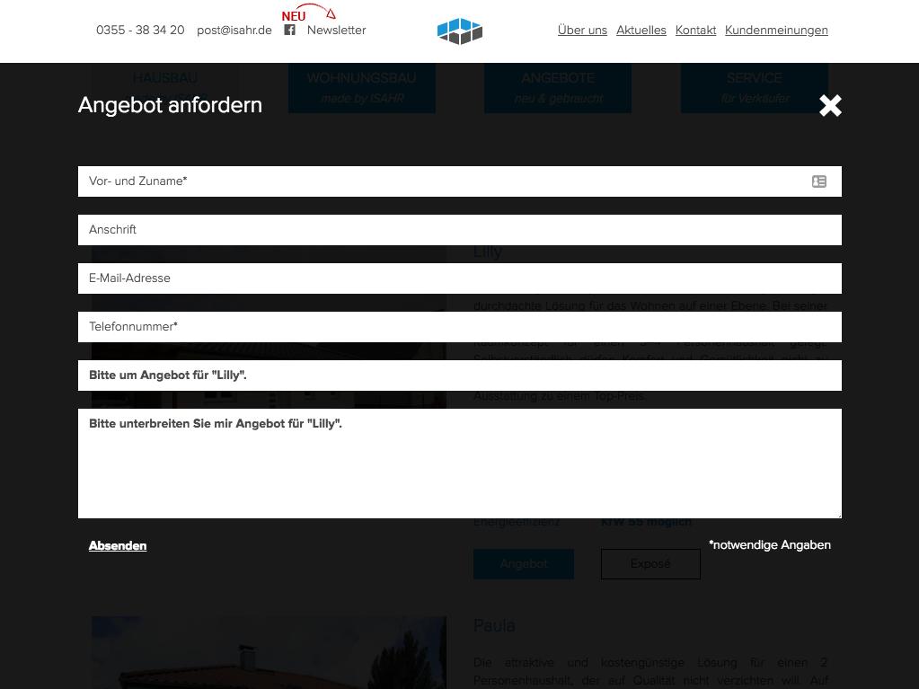 Design und Entwicklung Website Isahr Immobilien