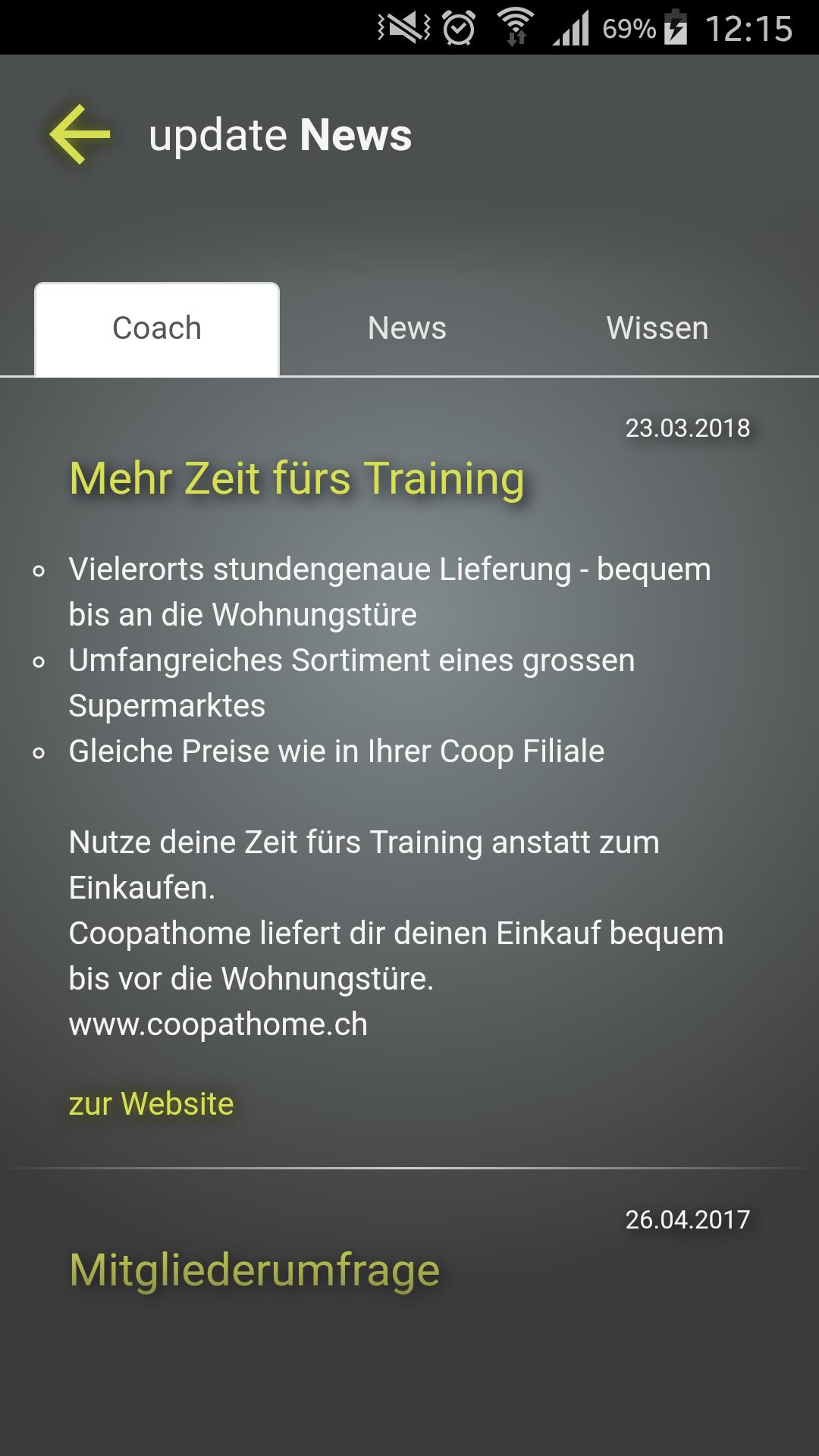 Design und Entwicklung Fitness-App - News