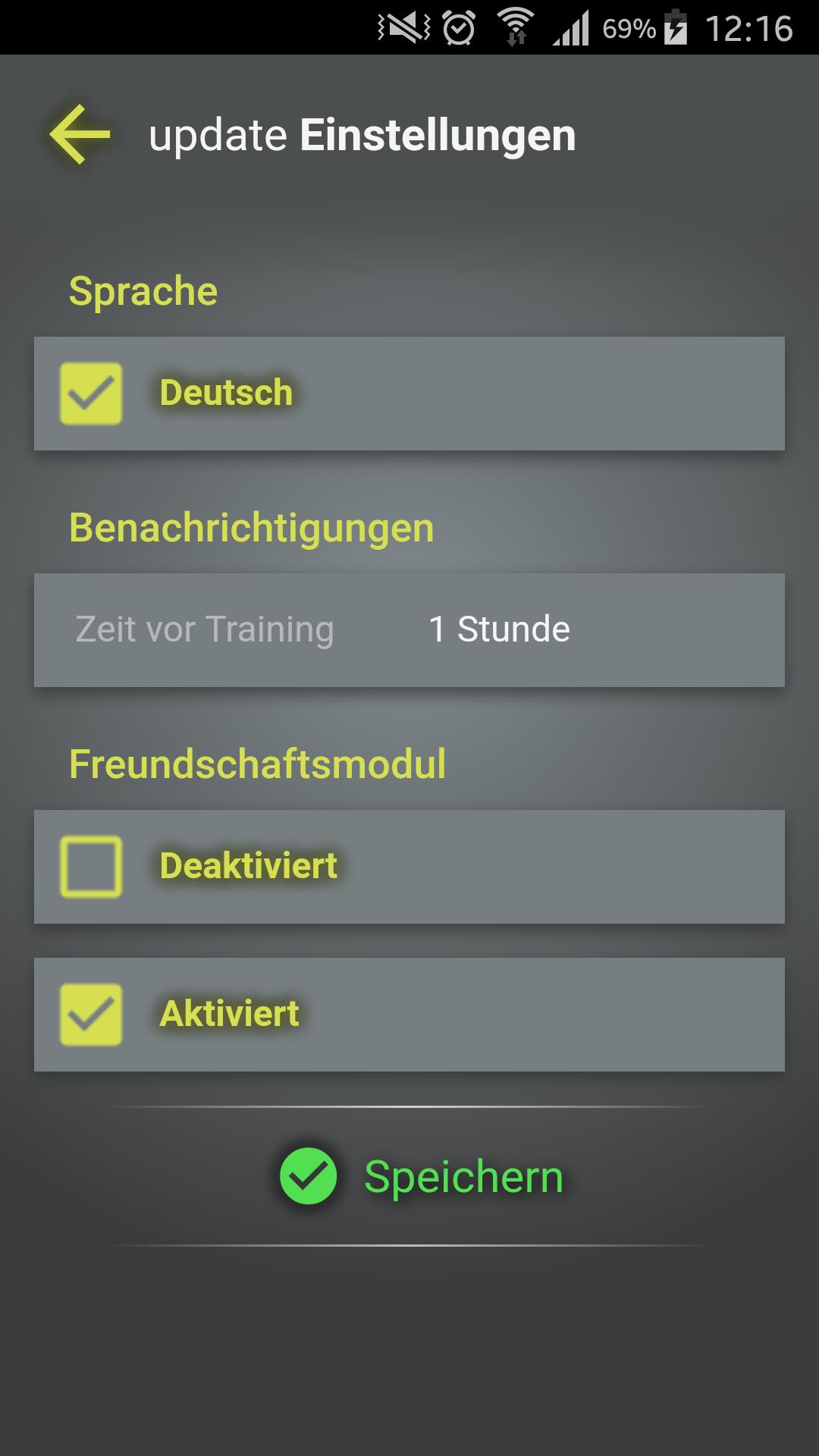 Design und Entwicklung Fitness-App - Einstellungen