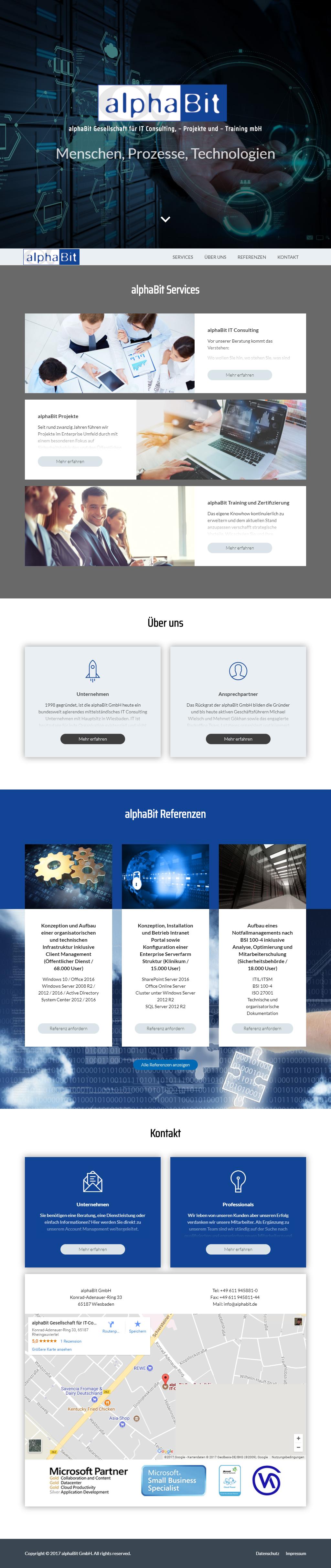 Entwicklung der Website Alphabit