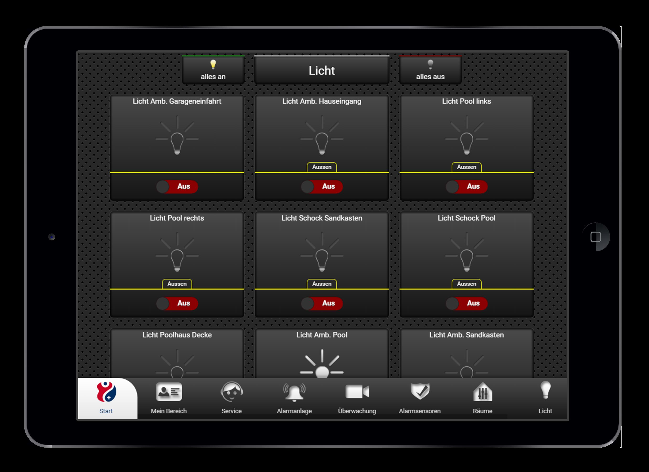 Design und Entwicklung Lichtsteuerung in Smarthome App
