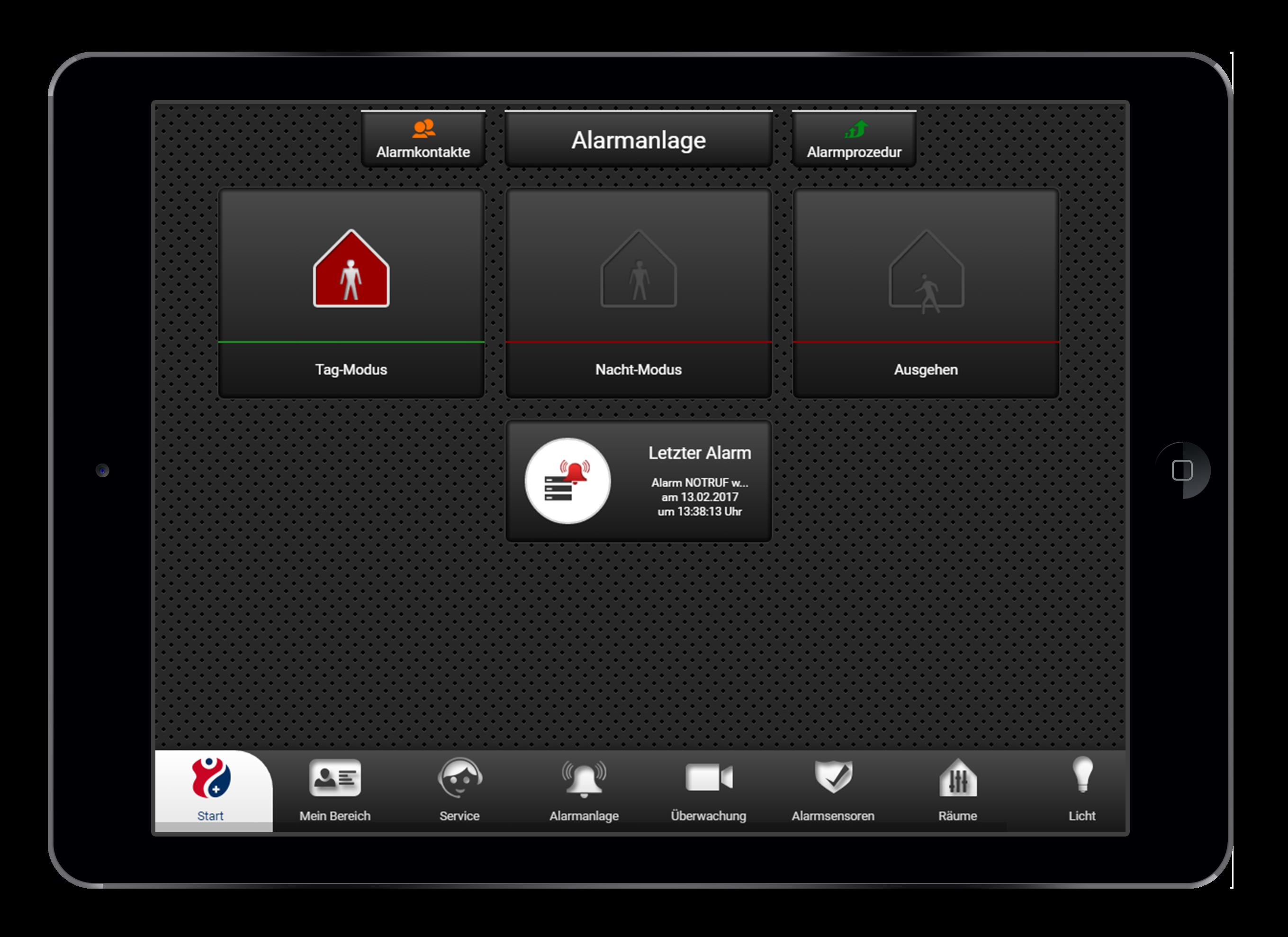 Design und Entwicklung Alarmanlage in Smarthome App