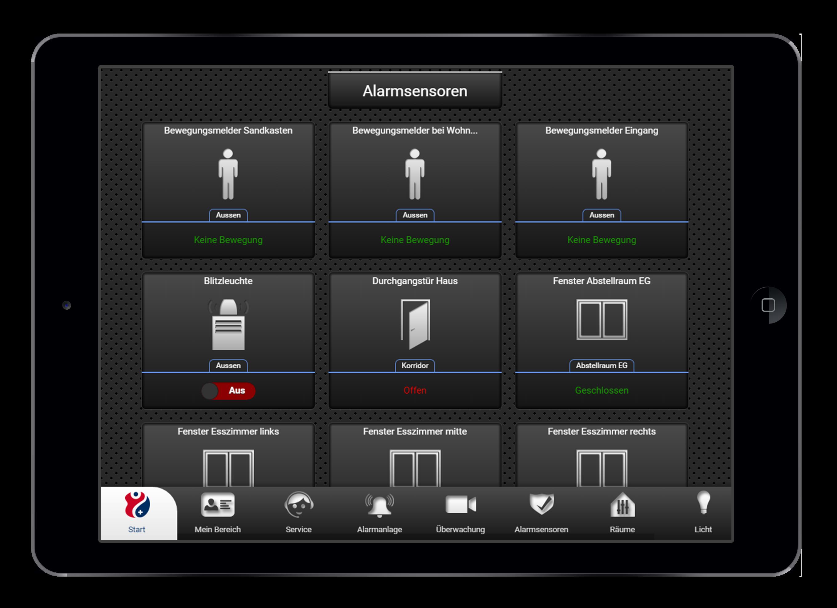Design und Entwicklung Alarmsensoren in Smarthome App