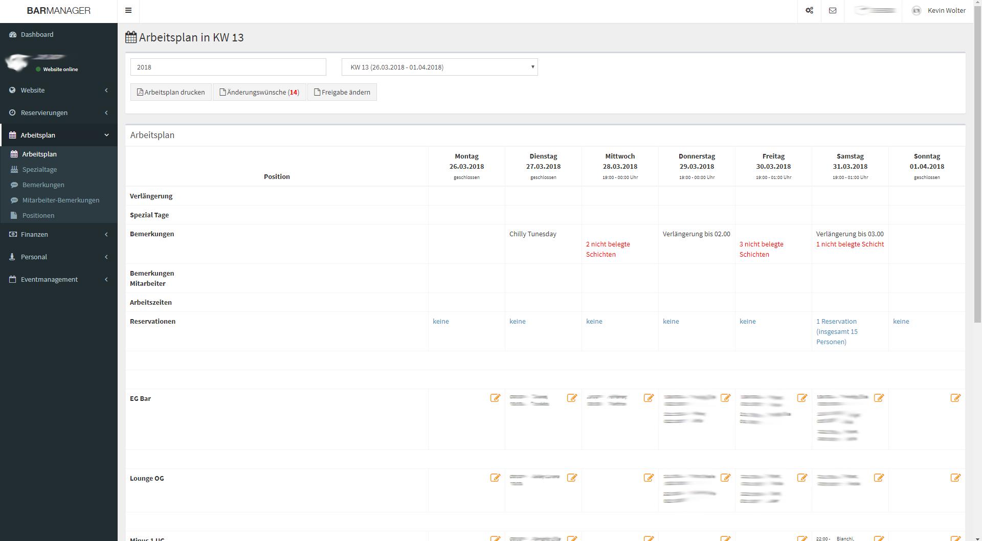 Design und Entwicklung BarManager Online-Tool