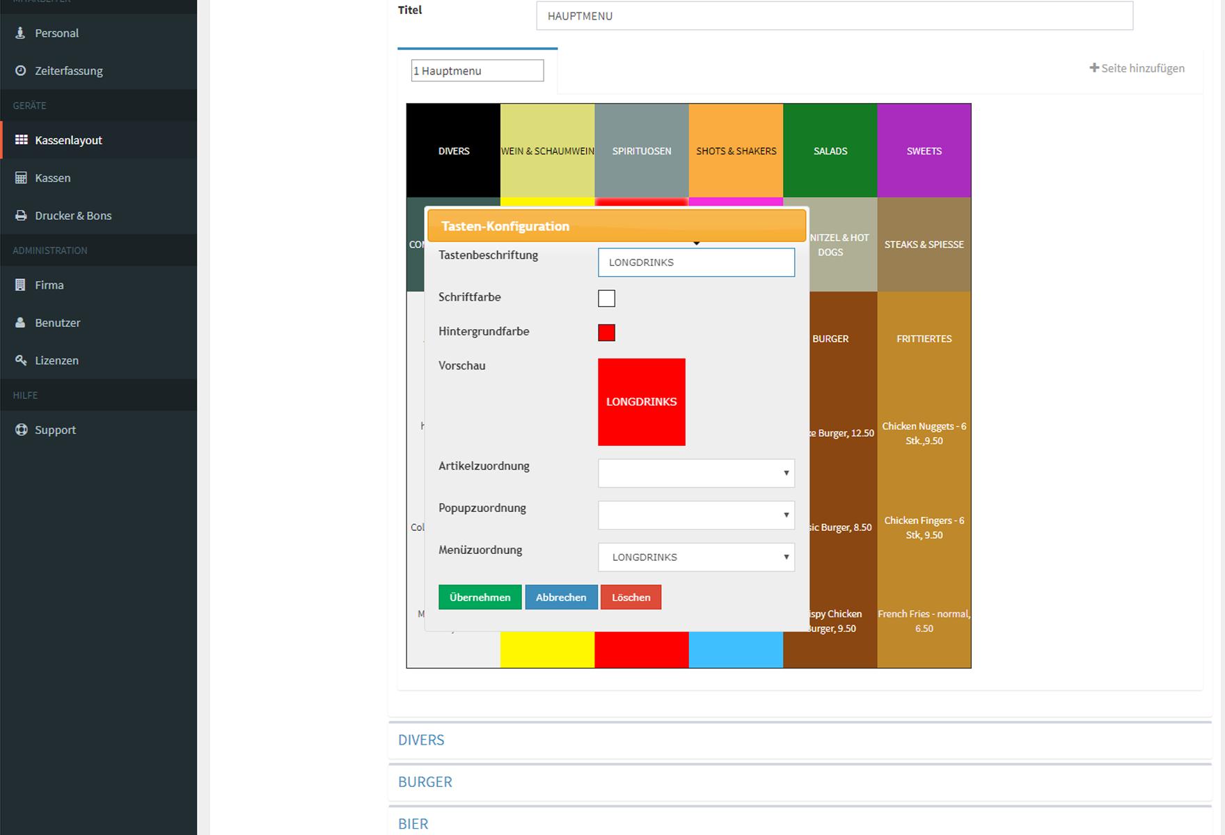 Design und Entwicklung Kassen App