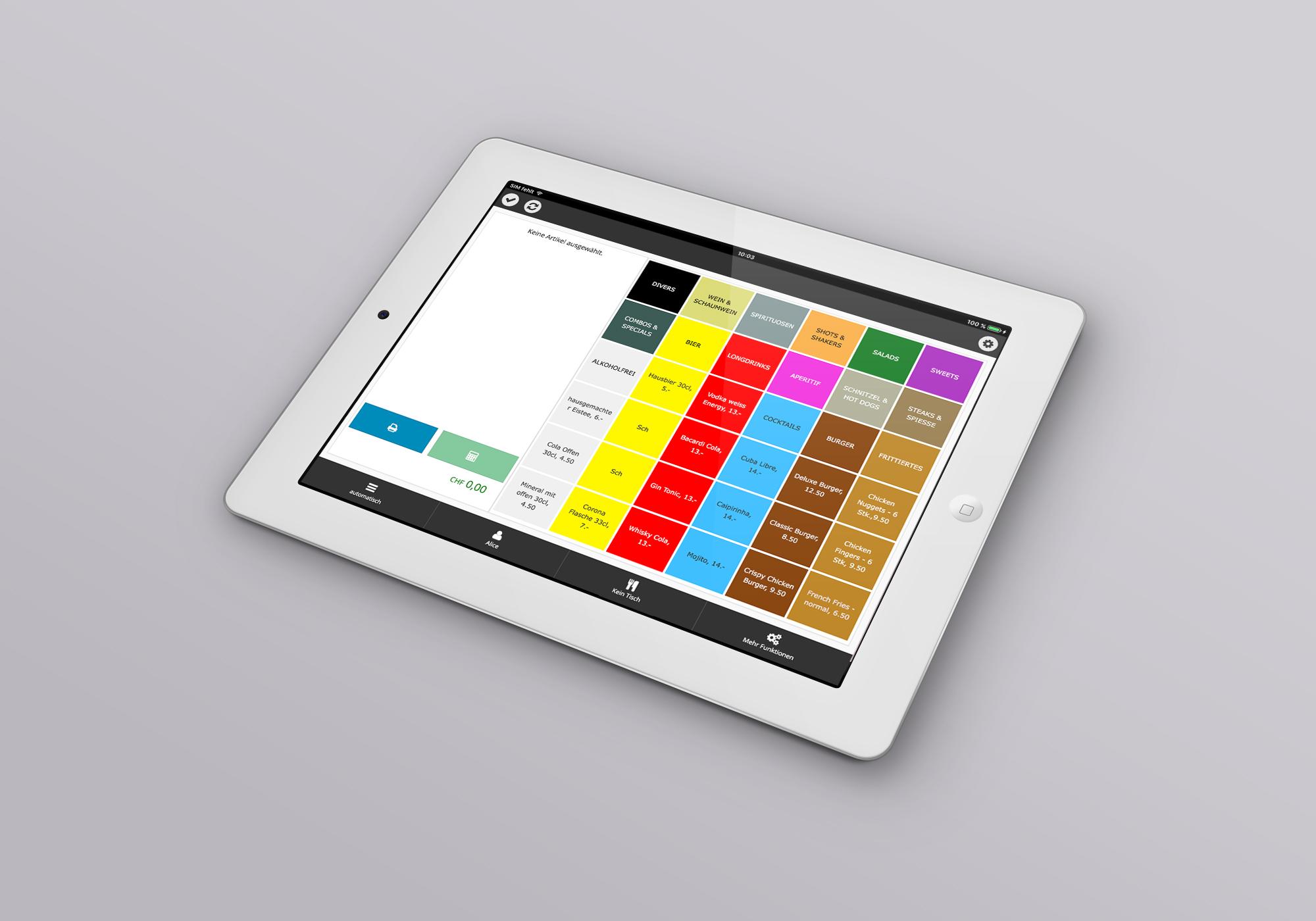 Design und Entwicklung Kassen App für iPad