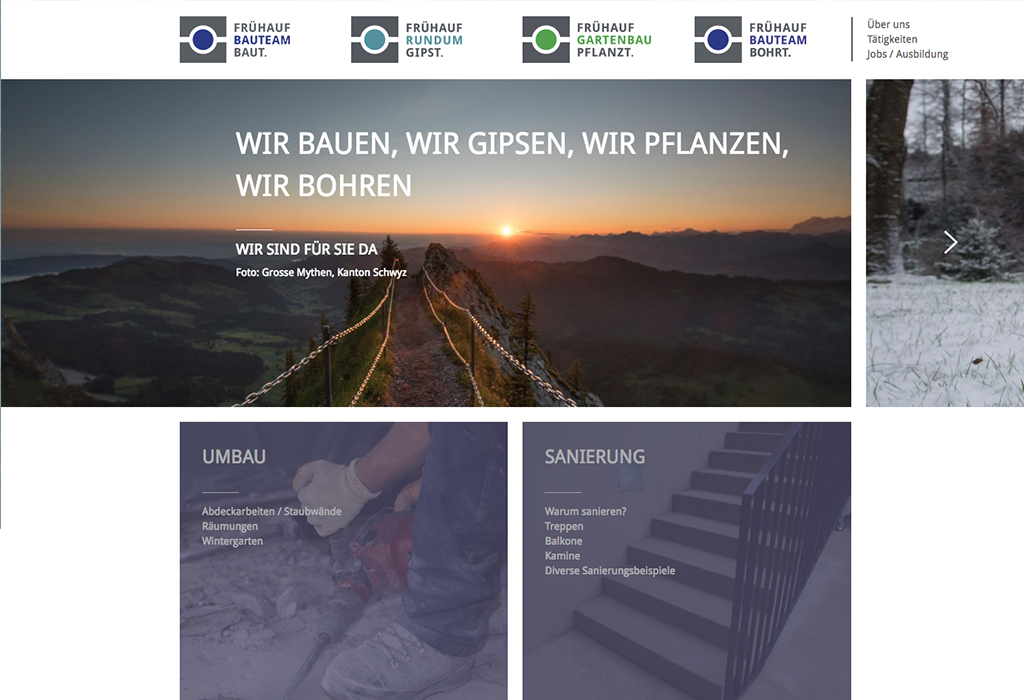 Design und Entwicklung Website Frühauf Bauteam