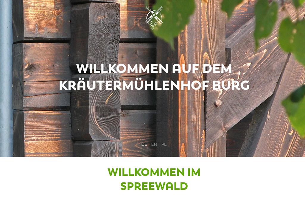 Design und Entwicklung Website Kräutermühlenhof Spreewald