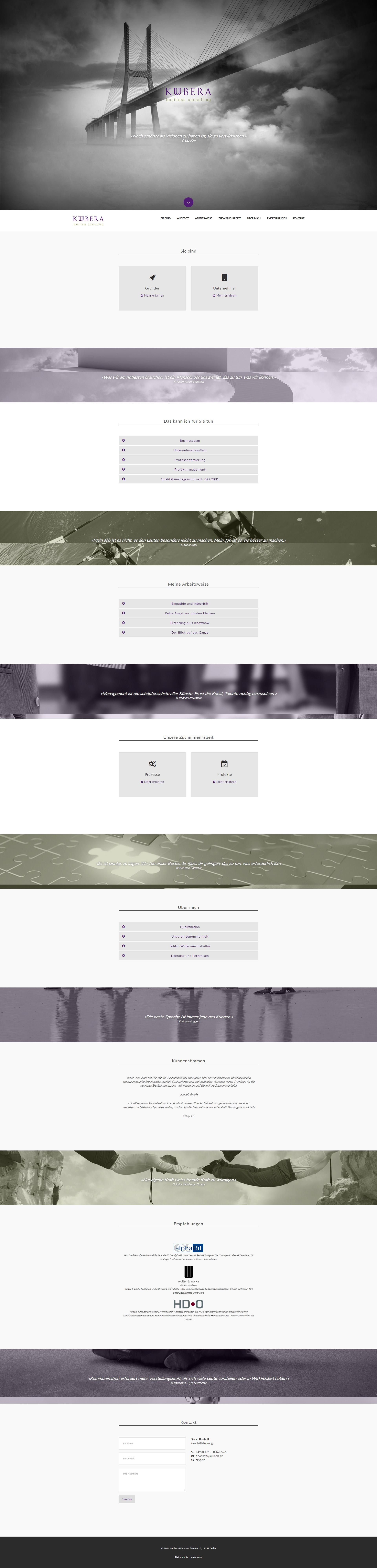 Entwicklung der Website Kuubera
