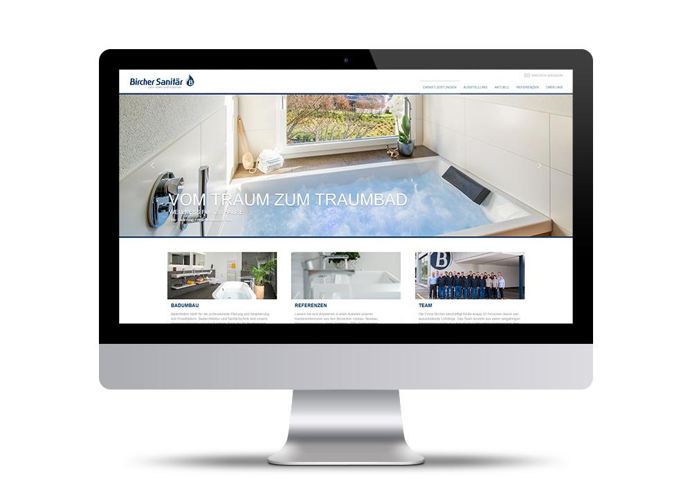 Design und Entwicklung der Website Bircher Sanitär