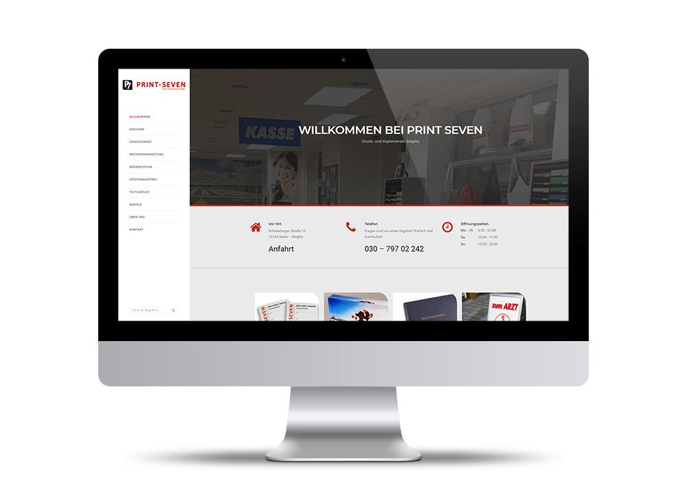 Design und Entwicklung der Website Print-Seven