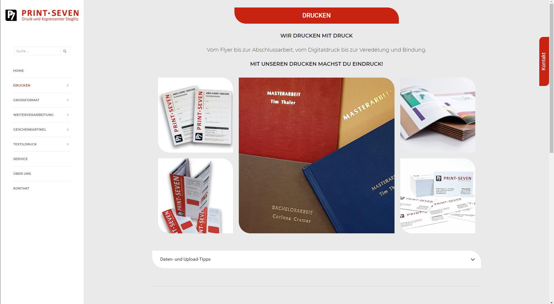 Design und Entwicklung Website Print-Seven