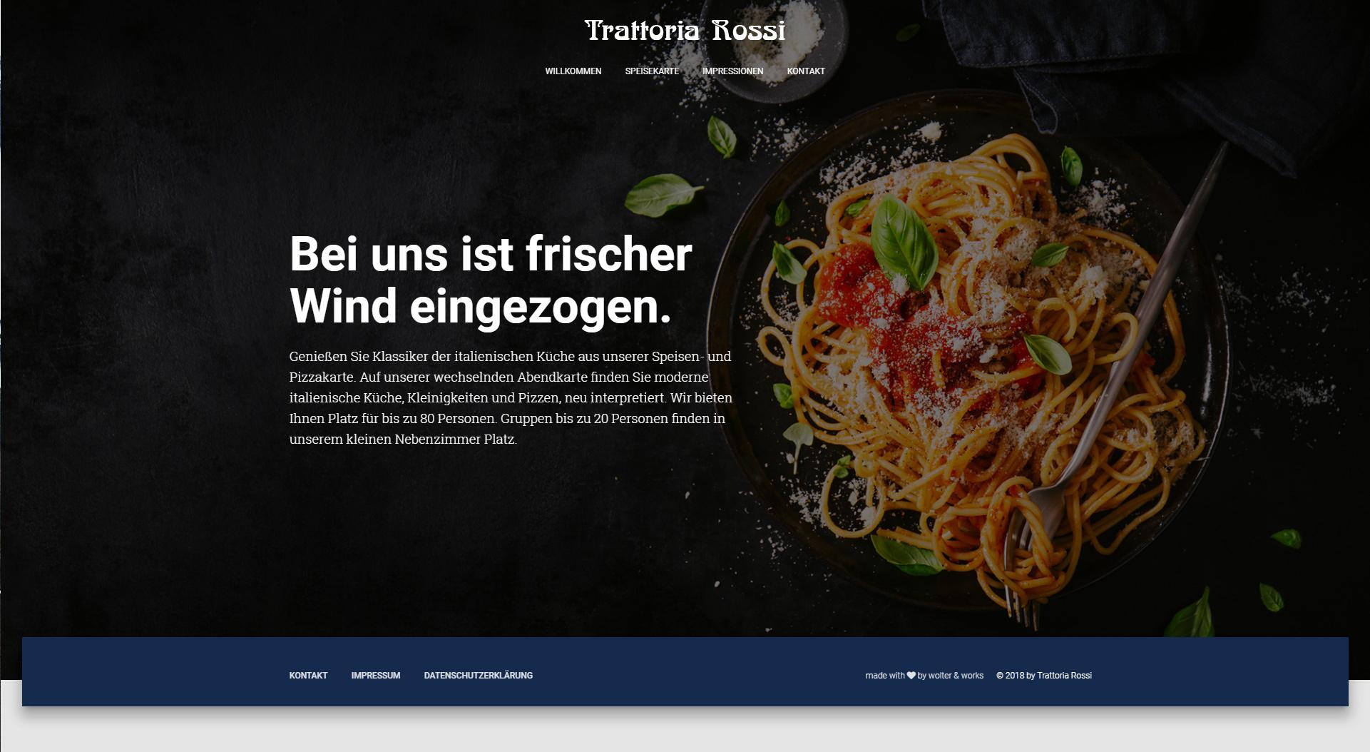 Design und Entwicklung Website Trattoria Rossi